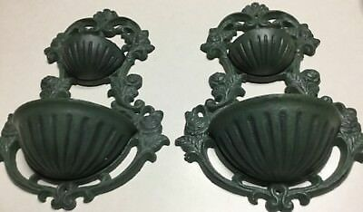 Lot of 2 Cast Iron Wall Planter Plant Holder Sculpture Outdoor Patio