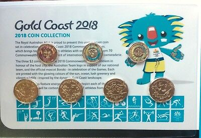 2018 XXI Commonwealth Games Coin Collection $1 One & $2 Two Dollar Coins UNC