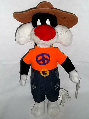 """1998 Looney Tunes Plush 15"""" Hippie SYLVESTER Cat 70's Peace Shirt Toy Stuffed"""