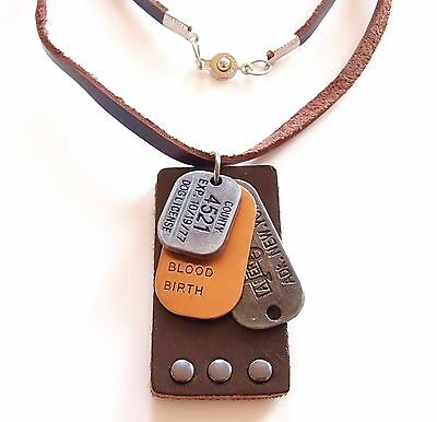 Lederkette Handarbeit ECHT LEDER Surferkette Designer Herrenkette Dog Tag BIKER