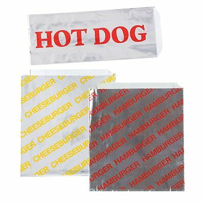 Printed Foil Hamburger, Cheeseburger and Hot Dog Sacks 24 Each of Hamburger and