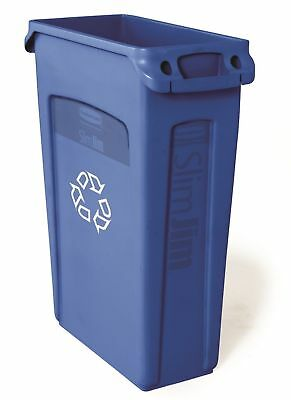 Rubbermaid Slim Jim Recycling Container w/Venting Channels, 23 Gal, Blue, 1 Ea