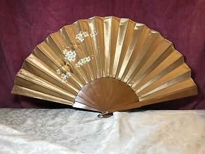 LARGE Antique Vintage Painted Hand Fan FLOWERS & LEAVES Silk? Gold Beauty Wood