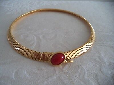 Vintage Monet Signed Necklace * Gold-tone Ribbed Red Cabochon Egyptian Revival!