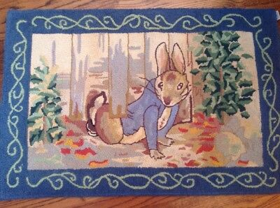 Peter Rabbit Beatrix Pottery Hooked Rug **RARE**