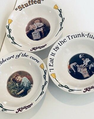 Vintage KELLOGG'S Cereal Bowls,Ceramic,Best To You Each Morning- Set of 3
