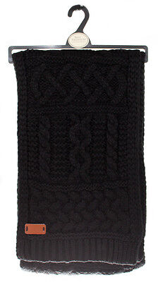 Aran Traditions Womans Ladies Men Winter Warm Knitted Style Black Scarf