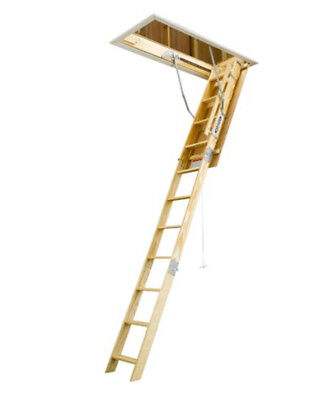 Attic Ladder Telescoping Pull Down Wooden Door Steps Pull String 10 Foot