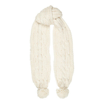 Aran Traditions Womans Ladies Winter Warm Chunky Style Cream White Pom Scarf
