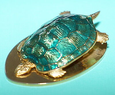 Stunning Large Asprey London Gold Plated & Enameled Turtle Tortoise Paperclip