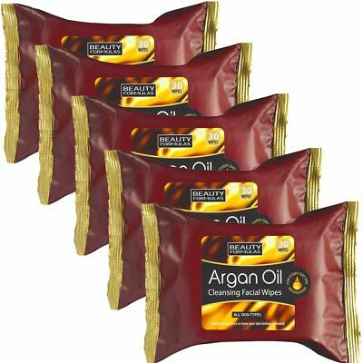 150 x Argan Oil Cleansing Face Wipes Skin Make Up Eye Shadow Remover Cleaning