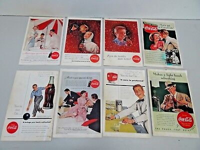 "8 Vintage 6.5""x10"" 1950's Back Cover Coca-Cola Ads from National Geographic"