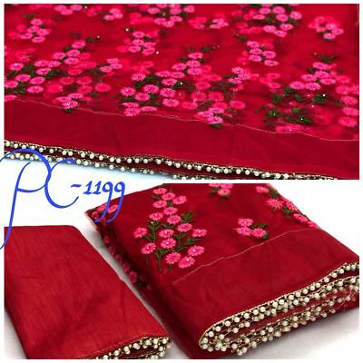 New Pakistani Indian Saree Fancy Designer Ethnic Party Wear Tussar Silk Sari