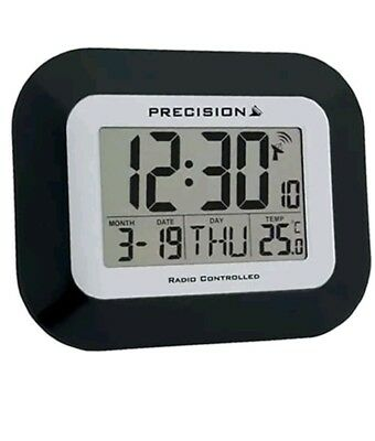 Precision Radio Controlled Large Screen LCD Wall Or Desk Clock Black AP034