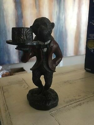 Vintage Rare Equestrian Attire APE/ MONKEY Heavy Cast Iron Candle Holder