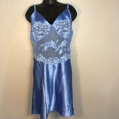 Cacique 22 24 Teddie Plus Size Womens Sexy Lingerie Lace Blue Sheer Babydoll