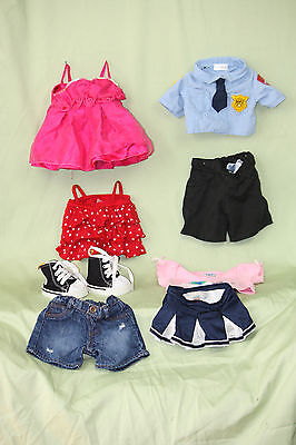Build A Bear Clothing Lot Police Outfit Sneakers NFL Cheerleader Skirt MORE EUC