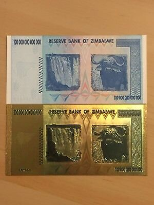 MAKE OFFER~1 Zimbabwe 100 Trillion Dollars($)AA 2008UNC +1 GOLD Banknote~BEST P.