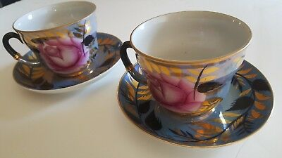 Gold Gilt Tea Cup Saucer Hand Painted vintage Russian never used teacup