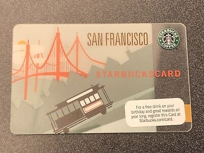 Starbucks 2009 San Francisco Cable Car Card Never used Mint Condition HTF