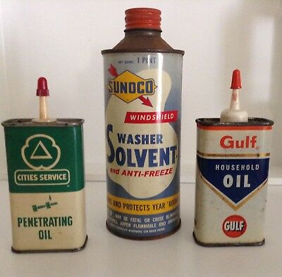 """Vintage collectible SUNOCO,Cities Service& GULF"""" metal tins $$$"""