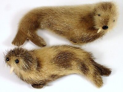 2 Vintage Seal Toy Otter Walrus Sea Lion Real Animal Fur Figurine Toy Norway Lot
