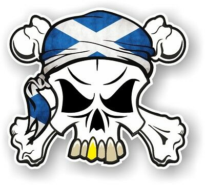 Skull & Crossbones + HEAD Bandana & Scotland Scottish Saltire Flag car sticker