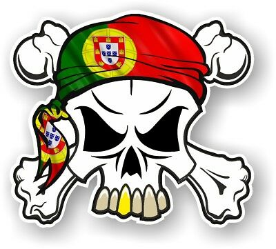 Skull & Crossbones + HEAD Bandana Portugal Portuguese Flag vinyl car sticker