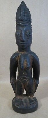 "Antique AFRICAN Hand-Carved 10"" Female FERTILITY STATUE Jutting Breasts Buttocks"