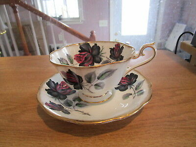 Royal Albert Masquerade Cup and Saucer - Black & Pink Roses w/Gold