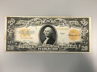 1922 Us $20 Gold Certificate Large Size Gold Seal Note $20 Dollar Bill Antique