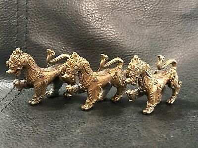 Lot 3 Chinese Dragon Foo Dogs Gold Painted Metal Miniature Figures Fairy Garden