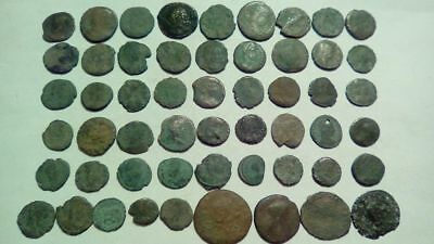 Lot Of 54 Ancient Bronze Roman Coins Uncleaned