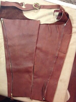Leather Chaps, vintage artisan made, horse or motorcycle., NEW PRICE