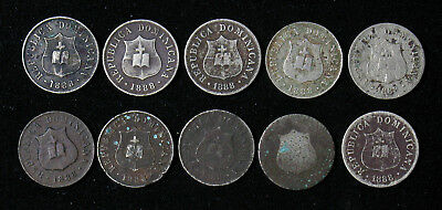 Lot of 10 - 1888 Dominican Republic 2 1/2 Centavos