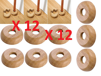 upto 12x 15mm SOLID OAK COLOUR WOODEN WOOD RADIATOR PIPE COLLARS COVER FLOOR NEW