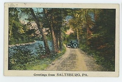 Antique Automobile Car Greetings from SALTSBURG PA Indiana County Postcard