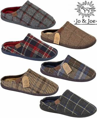 Mens Slip On Slippers Clog Mules Sheepskin Fur Peaky Blinders Tartan Tweed Shoes