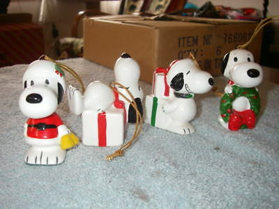 Vintage Peanuts Snoopy Ceramic Christmas Ornaments Lot of 4 - 1950s 1960s