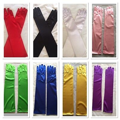 Long Satin Gloves Opera Costume Bridal Party Prom Wedding Womens Gloves
