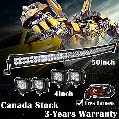 """50inch LED Light Bar Curved + 2x 4"""" CREE Led Pods Off road Truck Jeep Ford SUV"""