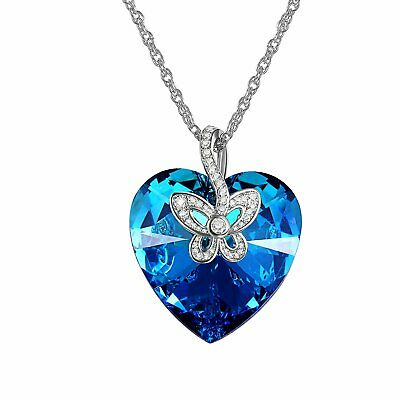 Butterfly Love Heart Womens Necklace Made with Blue Swarovski Elements Crystals