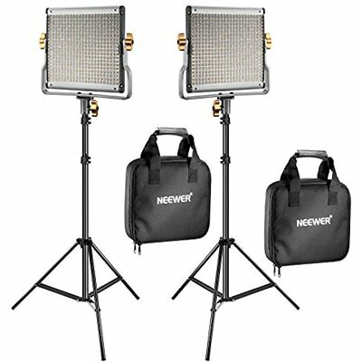 2 Packs Dimmable Bi-color 480 LED Video Light And Stand Lighting Kit Includes: U