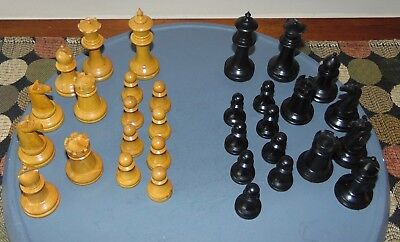 ANTIQUE EARLY 1900'S Carved Wood CHESS PIECES Complete Set