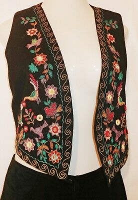 Rafia studio vest WEARABLE ART embroidered mirrored accent vintage festival