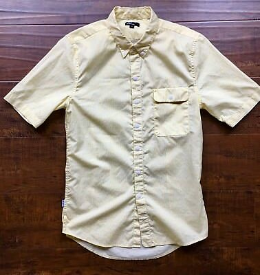 LEVI'S CALIFORNIA COLLECTION Short Sleeve Shirt Yellow White Print Sz. XS