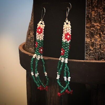 Vintage Native American Glass Seed Beaded Green & Red Earrings