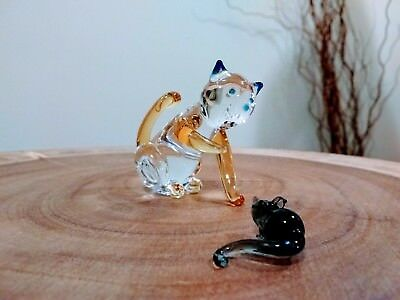 "Cat & Mouse Blown Glass Figurines in Gift Box by Pier One Imports ""Cindi & Gus"""