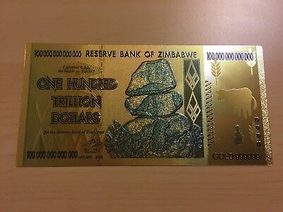 MAKE OFFER~1 Zimbabwe 100 Trillion Dollars($) Gold Bill ~LIMITED TIME~PRICE DROP