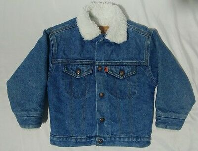 VTG. Little Levis Toddlers Denim Sherpa Trucker Light Wash Jean Jacket Sz 6 USA